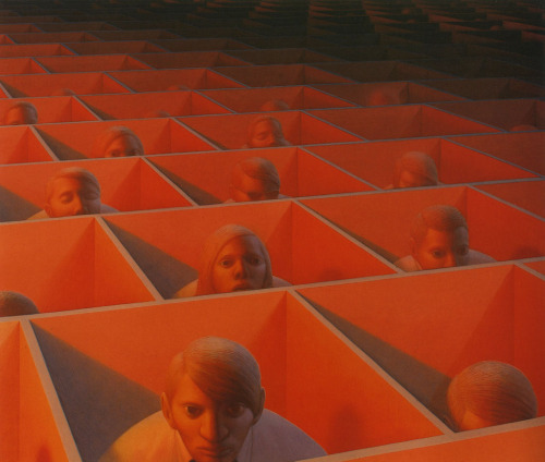 void-dance:  Painting by George Tooker: Landscape with Figures (1965-66)