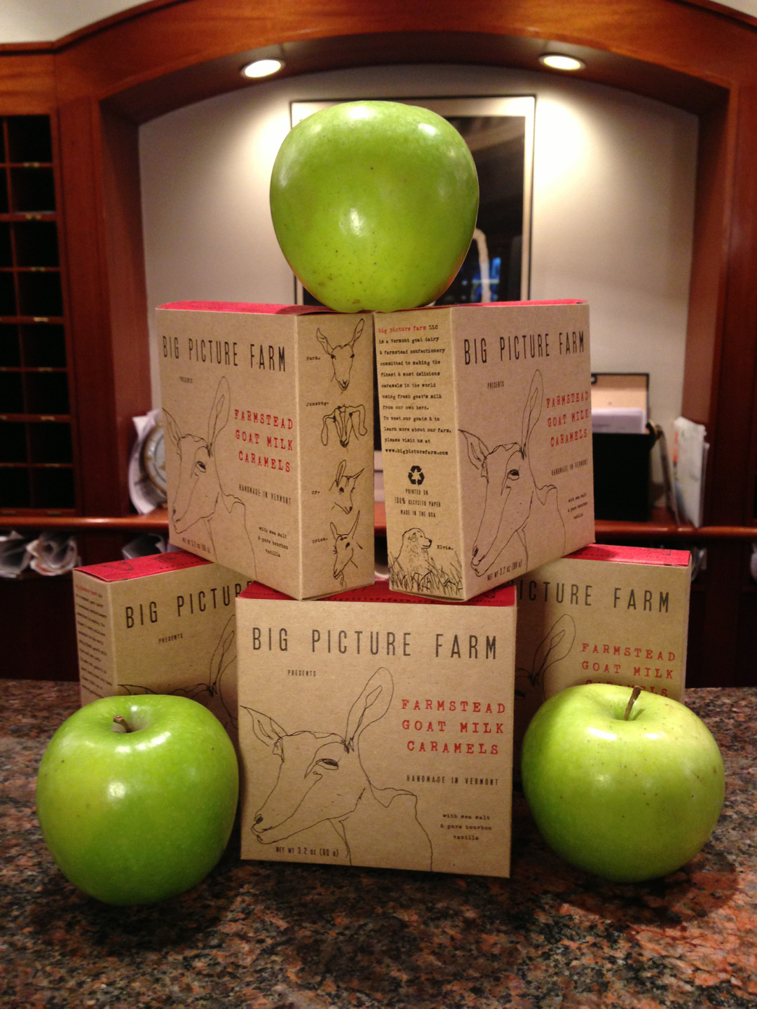 Apples sitting on a structure of goat's milk caramel boxes at the Roger Smith front desk.  Ask Sophie, Manny, Randy, Jacques or Raj.  Art of food…. urban crystals… melting in your mouth.