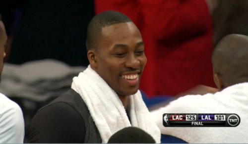 doubleclutch:  because losing by 24 is funny….  There shouldn't be a smile on ANYBODY'S face when you lose by 24, especially to a division (and local) rival. God, I am just so sick of Dwight, you guys.