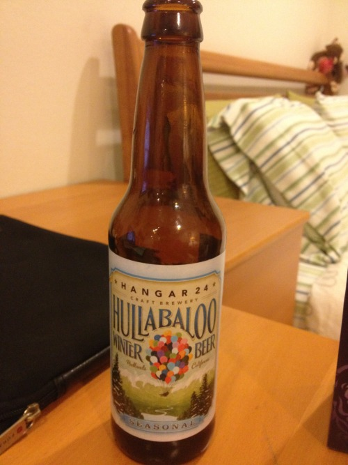 "Beer Blogging time! Everytime I try a new beer I will blog about it (how it tastes, percentage, the aesthetics, etc.) Edition 1: Beer: Hullabaloo Winter Beer Taste: Nutty with a sharp, long-lasting aftertaste %: 6.5 Smoothness: Super smooth Overall this was an awesome beer. I felt its presence right away and enjoyed it from the first sip to the last. It has a very nutty taste followed by a very sharp after-taste much like that of Green Flash's ""Le Freak"". Also, it has a beautiful cover picture which, honestly, was one of the reasons I ultimately decided to buy it. Reminds me of Disney Pixar's movie ""UP"" for obvious reasons and anything related to that movie makes me an instant fan! Looks pretty, tastes delicious, and is very smooth. Would definitely buy it again! Hulabaloo everyone!"