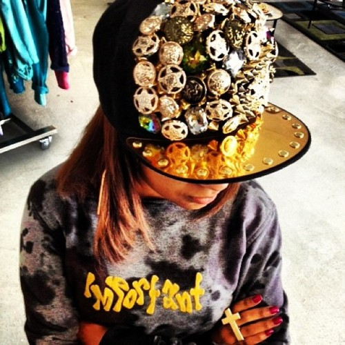 Sassy Snapback! $60 #philthyragz #snapback #hats #caps #jewels #spikes #gold #headgear #important #fashion #funky #fabulous  (at Philthy Ragz 4840 W. Slauson Ave. Ladera Heights, CA 90056 )