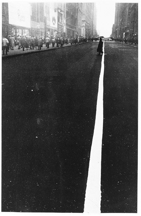 Robert Frank Pedestrian Crossing Center White Line on 34th Street, NY, 1948