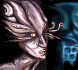 Shell-headed creature.  Result from todays trip into digital-painting-land.