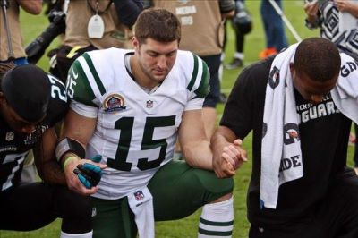 "kickoffcoverage:  - TIM TEBOW NAMED FORBES 'MOST INFLUENTIAL ATHLETE OF 2013' -  Although free agent quarterback Tim Tebow doesn't have an NFL team to call home and it looks like there is not a team in the league looking to sign him any time soon, he still has been named the Most Influential Athlete of 2013.Tebow, who was cut by the New York Jets last week, topped the list of athletes that most Americans feel carry the most influence with the public, according to the list released by Forbes on Monday. The athletes he beat out included three 2012 Olympic gold-medal winners (No. 2 Michael Phelps, No. 3 Usain Bolt, No. 7 Gabby Douglas), three Super Bowl-winning quarterbacks (No. 5 Peyton Manning, No. 6 Drew Brees, No. 8 Aaron Rodgers) and three athletes who have won titles in other pro sports (No. 4 Derek Jeter, No. 9 LeBron James, No. 10 David Beckham).Of course, it should be pointed out that Tebow did win two national titles and a Heisman Trophy at Florida.Tebow's popularity exploded in 2011 after he took over for the injured Kyle Orton and then led the Denver Broncos to the AFC West title and a playoff win. Last season Tebow spent the most of the season on the bench while with the Jets.""For a backup quarterback to be talked about so much is incredible,"" Stephen Master, senior vice president of Sports for Nielsen, which conducted the surveys over the past several months, told Forbes. ""But it is the biggest market.""A big part of what could be assisting Tebow's popularity is his outspoken Christian faith. Part of Tebow's touchdown celebration includes a kneel-down prayer in the end zone after scoring. On Twitter, Tebow's followers are in the 2.2 million range and growing. (Photo: Rob Foldy/USA Today Sports)"