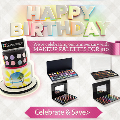It's our Birthday! To celebrate, we are offering Makeup Palettes for $10! Shop our Birthday Sale here: http://bit.ly/18GkJgv