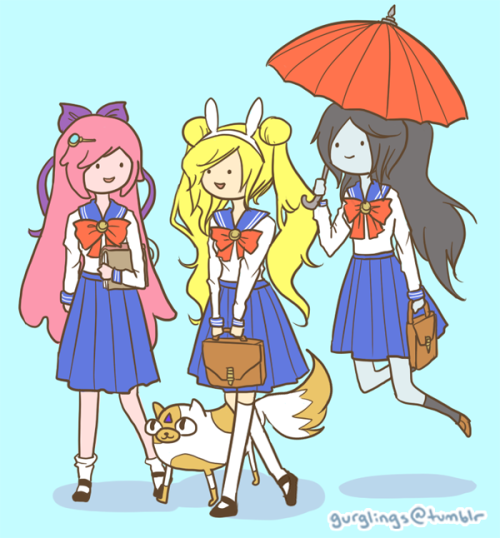 gurglings:  kinda missed drawing the adventure time sailor scouts, so have some off-duty shenanigans marceline's umbrella doubles as a recess snack