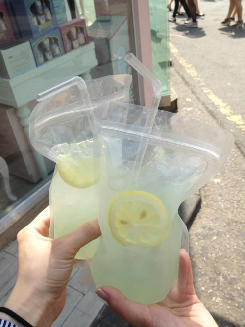 Adult Capri Suns—Bag o' (vodka) lemonade - perfect for the beach! Freeze it first and take to beach and squeeze to make it slushy—this way it won't get watered down:)