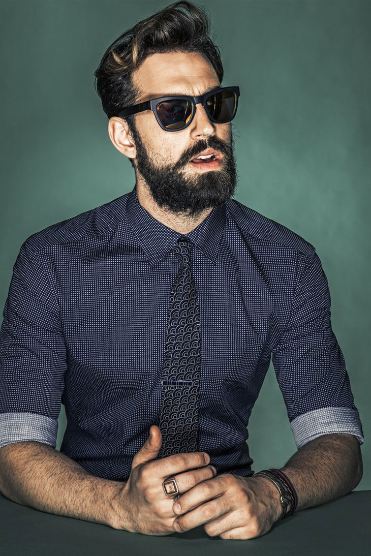 Model Ilias Petrakis Wears Shirt And Tie For WWD Photography By Rodolfo Martinez