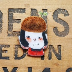The Eco Girl  #etsy #shrink #plastic #handmade #brooch #drawing #cute #girl #eco