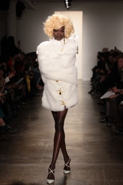 cat-culture:  Fur straight jacket @The Blonds runway show.  Fashionable insanity?