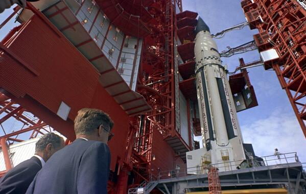 spaceexp:  JFK inspecting the Project Gemini rocket he will never see launched. 4 days before his assassination, Cape Canaveral