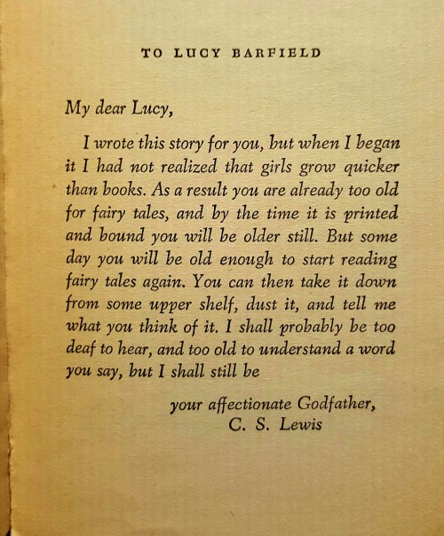 lissreads:  Can we talk about how much I love the dedication in The Lion, the Witch, and the Wardrobe?