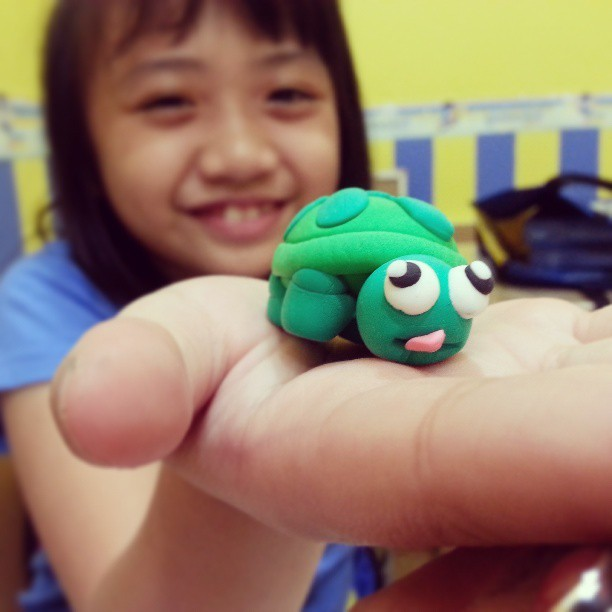 Hahah we made a little #clay #turtle today!