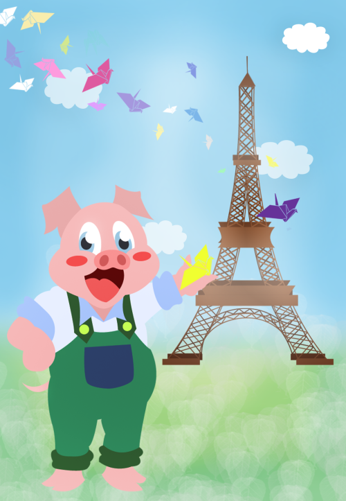 Yey after half-day of work, my pig finally sets foot in Paris ♥