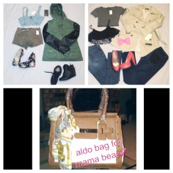 Haul!. Instead of clubbing I spent my money on clothes shoes and a bag for my mama bear:).  •Cargo jacket w/ leatherette sleeve-bluenotes              •jean crop top- bluenotes              •cargo high waisted shorts w/ spikes- urban planet              •floral wedges- urban planet              •sneaker wedge w/ spikes- urban planet                •trench coat - Zara               •grey croptop tee-urban planet             •black lace croptop- sirens              •bow- F21              •coral heels- F21              •jeans- 7 of all man kind and F21                    ~purse for mama bear - Aldo accessories