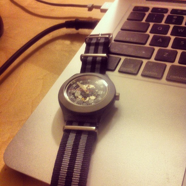 #Swatch watch strap broke so switched it out for a NATO #jamesbond #007