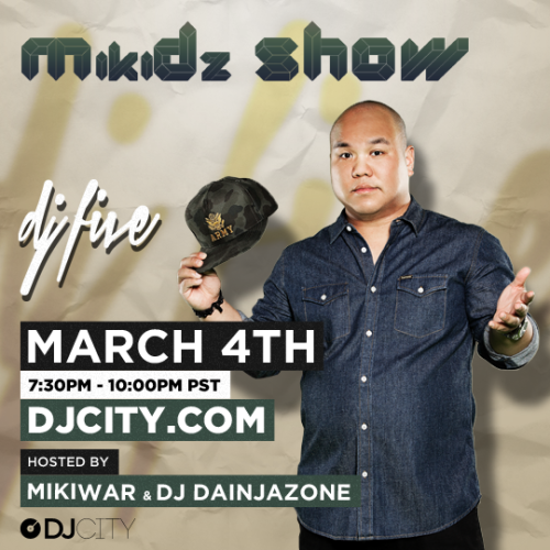After nearly two years, DJcity's MikiDz Show returns next Monday at 7:30pm PST w/ Vegas badboy DJ Five. Watch live at www.djcity.com