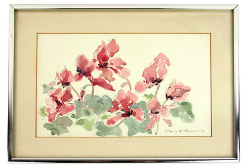 "Watercolor painting of cyclamen, signed and dated ""Laura R Howard '85."" Displayed in silver metal frame and single mat. 14.25"" L x 10.25"" W x 0.75"" HCondition: Very Good; light wear and scratching to the metal frame  by Ruby + George on One Kings Lane Vintage and Market Finds"