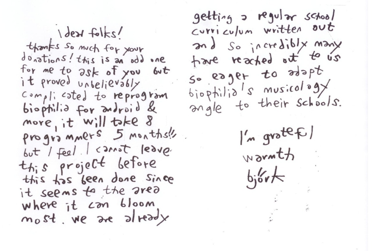 From the desk of Björk. Love this note Björk shared with backers of her Biophilia project. There's no mistaking her handwriting — it's just so… Björk!