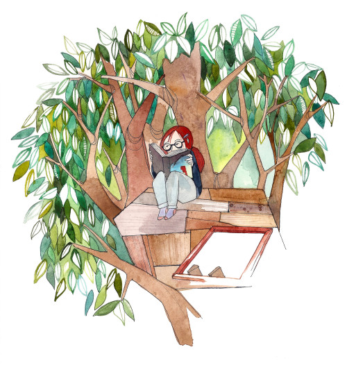 Book worm-treehouse-I love summer