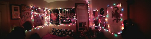 I rearranged my room! More Christmas lights! Turntable!   Matt and I are recording in here tonight, hence his presence in the photo.
