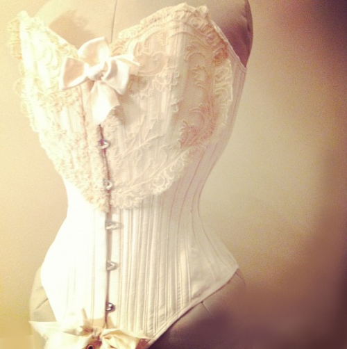 totallywaistedcorsets:  Ivory silk overbust with antique tambour lace - Totally Waisted! Corsets by Katrina Mior