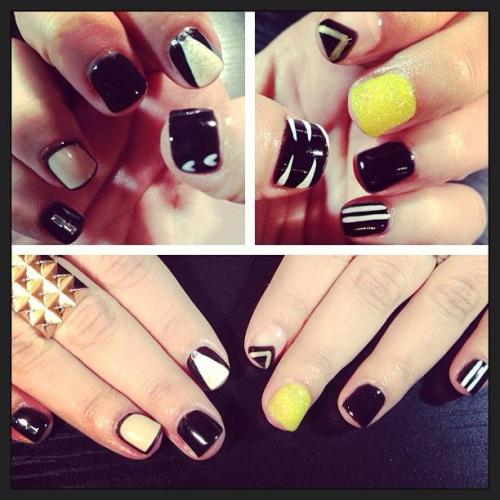 Black, White, and a little neon! Latest Gelish nail creation for one of my friends!  Add me on Instagram: @andria_goodrow for more nail art and FUN!