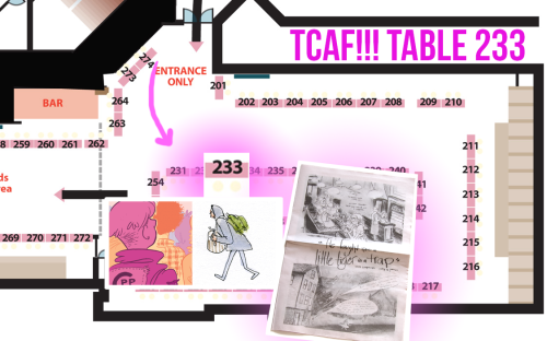 "TCAF 2013 Breakdown Ok ok, TCAF is this weekend and I'll be there! I'll be there with Cathy G Johnson and together we will be debuting our collaborative comic ""He fought like a little tiger in a trap."" We will be sitting at table 233 on the second floor, conveniently located almost directly in front of the entrance! We'll be right next to the illustrious Alternative Comics (including an appearance by Robin McConnell of Inkstuds) on one side and Caitlin Skaalrud (a fine comics artist, publisher of Talk Weird Press, and one of the organizers of Autoptic) on the other. Fine company indeed.  But you know, that's not even the half of it. Along with all the usual goodness you'd expect from what Czap Books offers (like all of Liz Suburbia's mini-comics, the PUPPYTEETH anthology), we'll also have the brand new mini from Jessi Zabarsky which looks just as beautiful as you might imagine.  We're also going to be repping L Nichols' Grindstone Comics. This means that I'll have copies of L's Flocks 1 and 2, and the new Little Garden mini from Darryl Ayo that debuted at MoCCA a few weeks ago.  And this is just what I'll have on my side of the table. I expect Cathy to have all of her gorgeous comics and prints on hand.  Sorry to everyone I covered up on the map above. Take a look at the full map for the show here."
