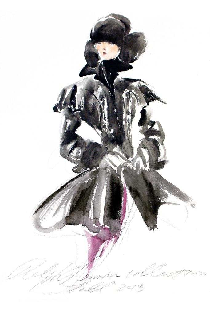 ralphlauren:   Ralph Lauren Fall 2013 Collection Sketch  My Fall 2013 Collection is just a few days away. One sketch cannot reveal the bold dimensions of this season's romantic, yet modern heroine. -RL