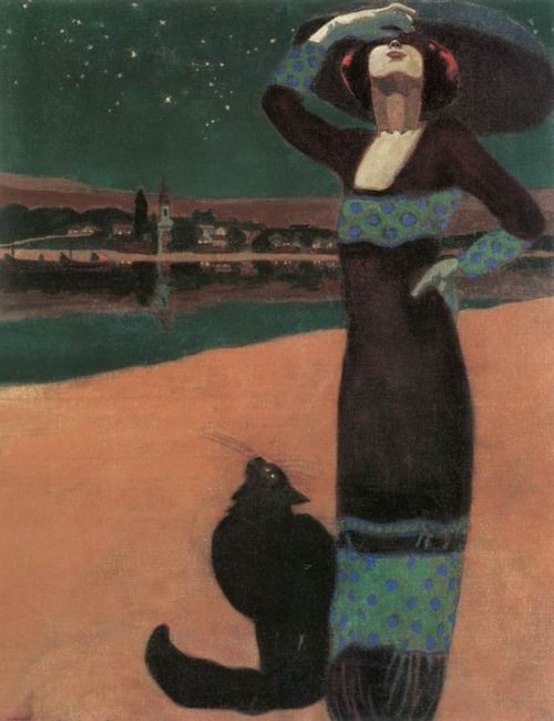 fleurdulys:  Slim Woman with Cat - Geza Farago 1913
