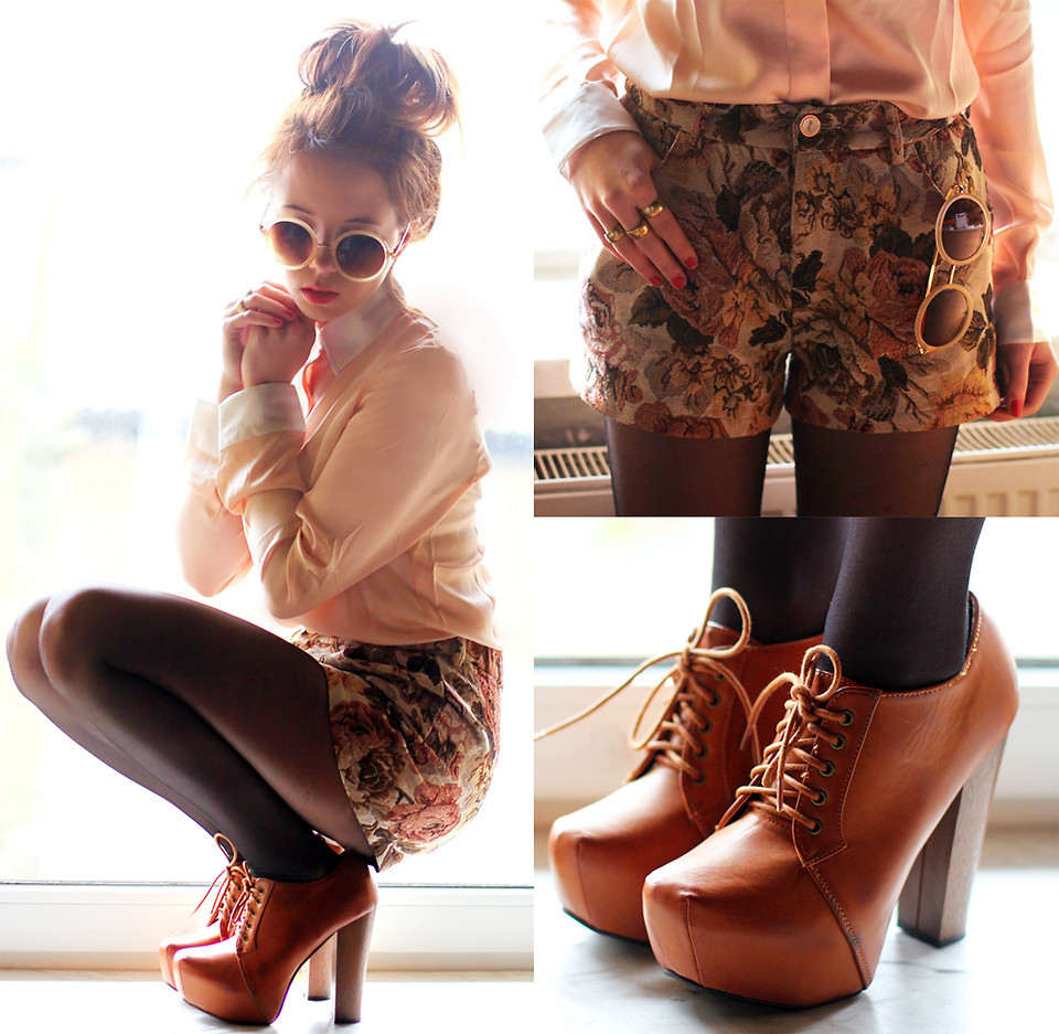 lookbookdotnu:  Flower Retro Beige Shorts (by Wioletta Mary Kate)
