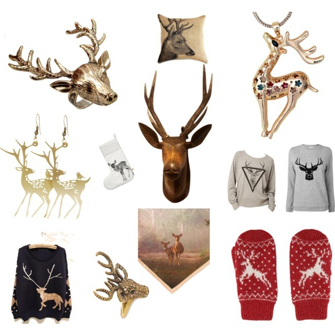 Animal Spirit: The Deer If you haven't discovered your animal totem yet, consider if the Deer might be yours. According to Native American folklore, the animal chooses you, so if you feel a natural affinity for the deer, it is advised to wear the animal for its lessons. What can the deer teach you? The deer will enable you to achieve sophistication, subtlety and elegance. We discovered some beautiful deer pendants, sweatshirts, rings, and pillows on eBay to help you keep the deer energy close.  [MORE] (Animal Spirit - Deer by jauretsi featuring ted baker : Navy blue top / Boutique by Jaeger grey shirt, $78 / Long top / Wildfox Couture antique gold ring / Deer jewelry / Monserat De Lucca deer jewelry / Deer jewelry, $14 / Red glove / Ted Baker / 19th Century French Deer Head at 1stdibs / Deer Pillow Cover, Burlap Pillow, Cushion, Rustic, Decorative Throw… / By Nord Oversize Deer Christmas Stocking, $120)