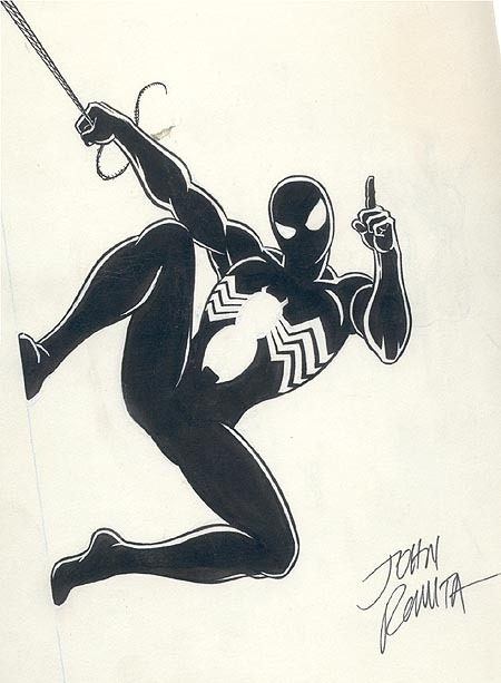 Simple but effective character design and classic comic art:Spider-Man Black by comic legend,John Romita Snr.