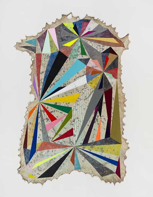 Jeffrey Gibson Someone Great is Gone, 2013  Elk hide, Acrylic Paint, Graphite, Colored Pencil 73 x 66 inches 185.4 x 167.6 cm