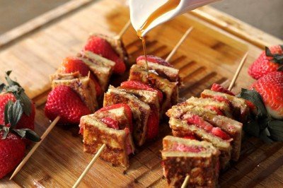 Stuffed Almond Butter & Strawberry Jam French Toast Kabobs