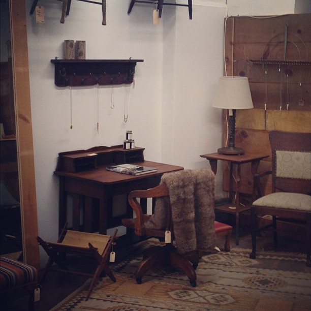 Lots of mission style piece including this gorgeous writing desk (at Moon and Arrow home of territory hard goods)