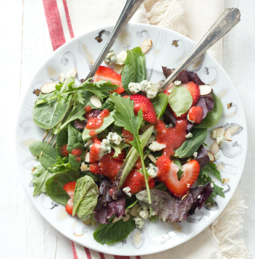 strawberry salad with blue cheese.