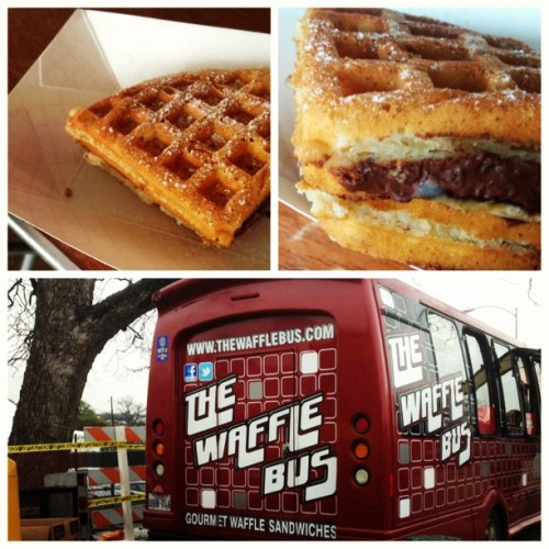 austin360:  Nutella & banana waffle sandwich at @thewafflebus. Trying out SouthBites, the food trailer park curated by Paul Qui at the corner of Rainey & Driskill. I hope my gallbladder doesn't give out during SXSW. #sxsw #360sxsw #onassignment by hellotinaphan http://instagr.am/p/WnF1TlosiR/