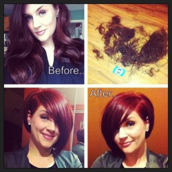 goshorter:  #transformation #changeisgood #lovemynewhair #red #shortbob #asymmetrical - @tiffany025789- #webstagram