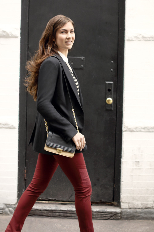 clubmonaco-pressroom:  September - Look 6 Claudia Blazer, Elise Cashmere Sweater, Natasha Button-Up Shirt, Jenni Moto Pant, Adriana Cross-Body Bag