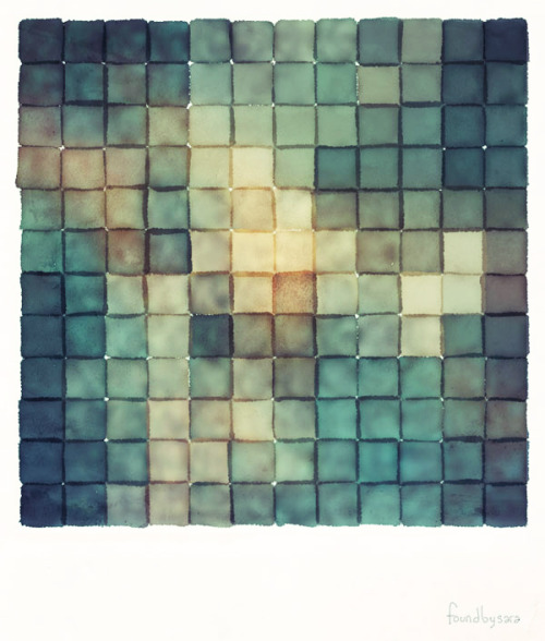 sarajea:  Polaroid Pixels III (Chain) Photographs re-imagined as watercolor paintings.  A late summer project. This image is available in my shop.
