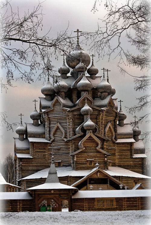 Old wooden Orthodox church in Sudal, Russia