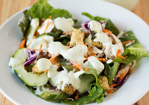 A big salad drizzled with homemade buttermilk ranch dressing by Brown Eyed Baker on Flickr.