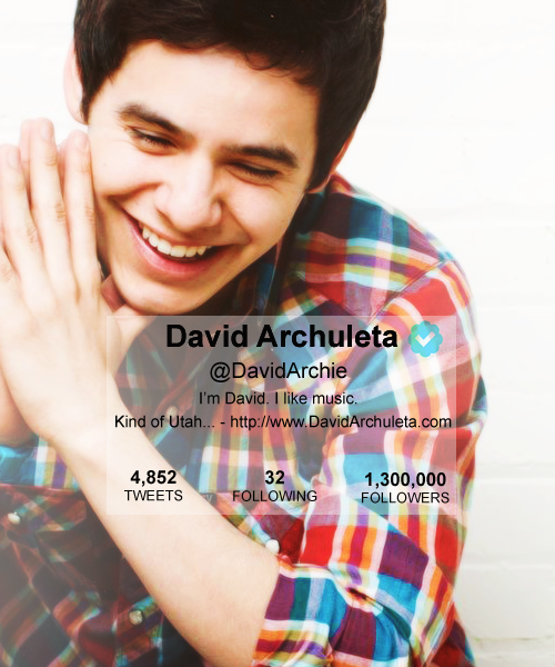 David Archuleta reached 1.3 million followers on twitter! woot :)