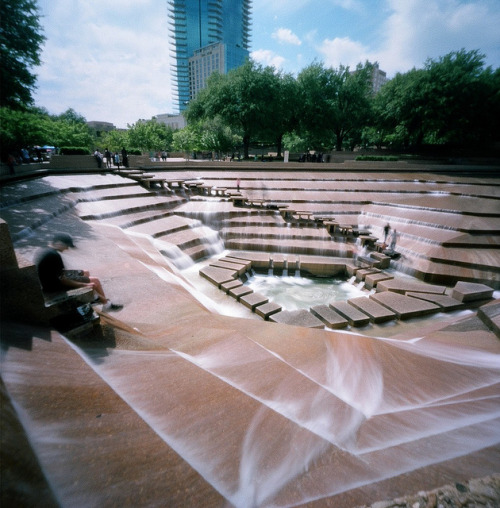 "At the Edge of the Pit - Pinhole on Flickr.Via Flickr: The Active Pool of the Fort Worth Water Gardens downtown, as captured by my Zero Image pinhole.  This pool was used in the '70s film adaptation of ""Logan's Run"" as a power facility."