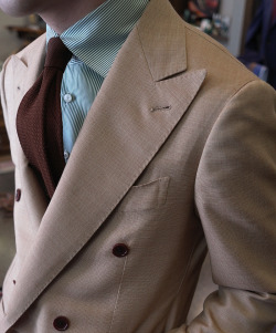 bntailor:  Spring Doublebreast Jacket Green Shirt Brown Knit Tie