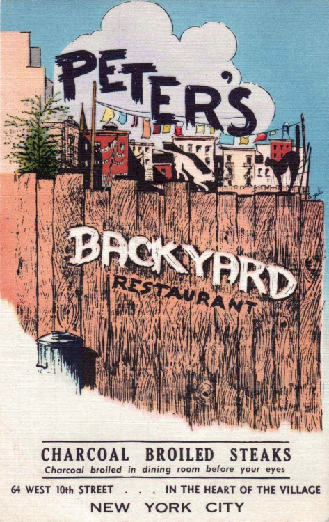 "Vintage postcard advertising ""Peter's Backyard Restaurant"" in Greenwich Village"