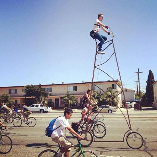 Amazing Two-Story Bike Strolls Through Los Angeles Pinar, mymodernmet.com More than just your aver­age bicy­cle, Richie Trim­ble's self-built STOOPID TALL bike stands at 14.5 feet tall, mak­ing the rider's seat near­ly two sto­ries above the ground. It's no won­der why the bike turned heads last week as Trim­ble…  How do you get on this?