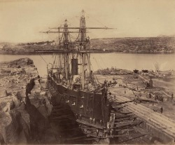 totheseainships:  French warship 'Atalante' at Fitzroy Dock, Sydney, 1873
