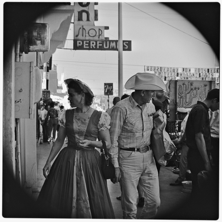 American tourists on street in Tijuana, Mexico, June, 1964, by Harry Crosby From the Harry Crosby Collection